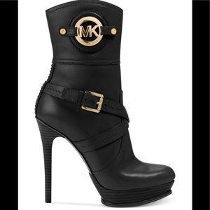 Michael Kors logo platform leather ankle boots